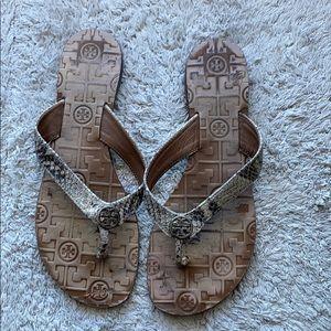 Tory Burch Snake Print Thong Sandal